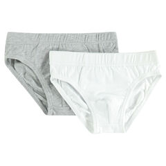 Junior - Set of 2 plain-colored cotton briefs