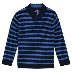 Junior - Striped, ribbed knit sweater with shawl collar
