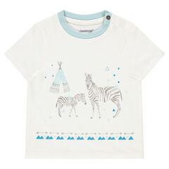 Short-sleeved tee-shirt with printed zebras