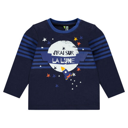 Long-sleeved tee-shirt featuring printed rocket and stars