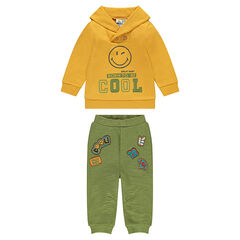 Fleece sweatsuit with embroidered ©Smiley and badges