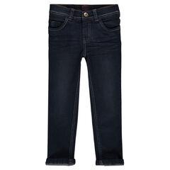 Worn-effect slim-cut jeans