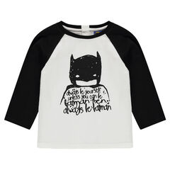 Long-sleeved two-tone tee-shirt with a BATMAN print