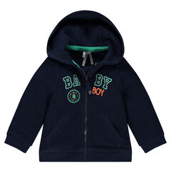 Hooded fleece jacket with embroidered messages and badge