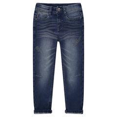 Junior - Used-effect fleece jeans