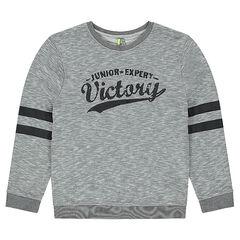 Junior - Fleece sweatshirt with crinkled-effect print in front