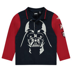 Polo manches longues bicolore Star Wars™ print Dark Vador