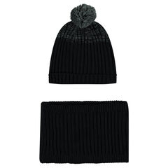 Ensemble with microfleece-lined knit cap and snood