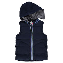 Junior - Sleeveless, plain-colored down jacket with removable hood