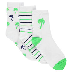 Set of 3 pairs of assorted socks with stripes and palm trees