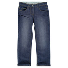 Worn-effect straight cut jeans