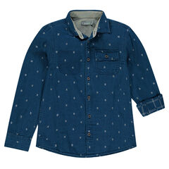 Junior - Long-sleeved shirt with an allover micro motif and pocket
