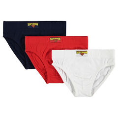 Set of 3 plain-colored briefs with DC Comics Superman label.