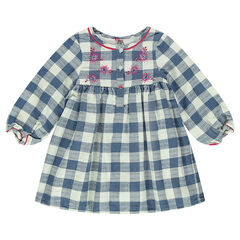 Checkered dress with embroidery