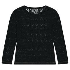 Long-sleeved burnout-effect tee-shirt with ikat motifs