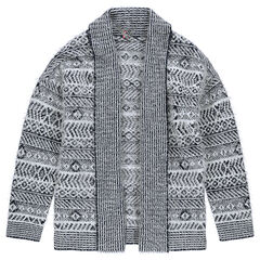 Junior - Fur-effect ethnic jacquard cardigan with flaps
