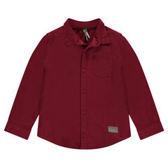 Long-sleeved burgundy shirt with pocket