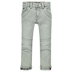 Used-effect slim fit jeans with printed turn-ups