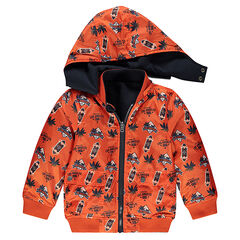 Reversible plain/printed windbreaker with removable hood