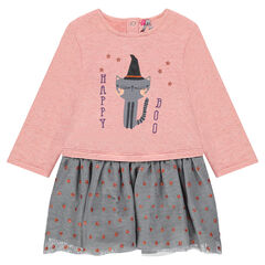 Special halloween bi-material dress with cat print and printed stars