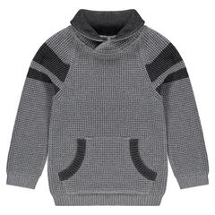 Long-sleeved knit sweater with kangaroo pocket