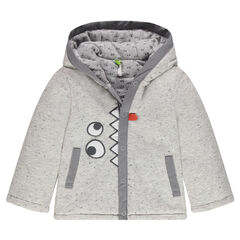 Fleece hooded jacket with embroidered eyes and teeth