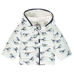 Quilted down coat with hood and printed birds