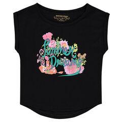 Short-sleeved, slub t-shirt with decorative print
