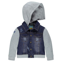 Bi-material denim jacket with removable hood