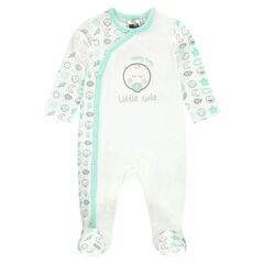 Footed sleeper in interlock jersey with embroidered ©Smiley Baby in lurex