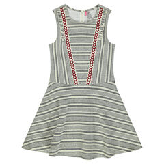 Junior - Striped jacquard dress with frills