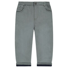 Poplin pants with microfleece lining
