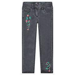 Slim jeans with embroidered flowers