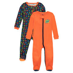 Set of 2 jersey footed sleepers with zipped opening