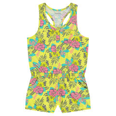 Sleeveless romper with elastic waistband and flowery print