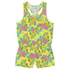 Junior - Sleeveless romper with elastic waistband and flowery print