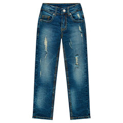 Used and crinkled-effect slim fit jeans with decorative worn details