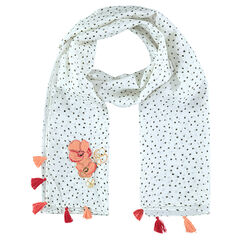 Voile fabric tagelmust with polka dots, pompoms and embroidered flowers