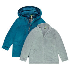 2-in-1 hooded windbreaker with removable sherpa cardigan
