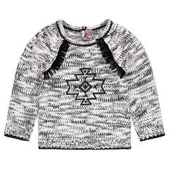 Mixed knit sweater with geometric motif and fringes
