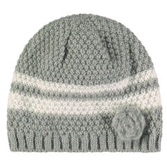 Striped knit cap with flower