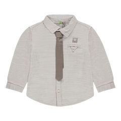 Long-sleeved cotton shirt with tie