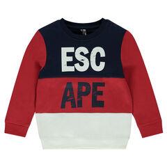 Junior - Tricolored fleece sweatshirt with crinkled writing effect