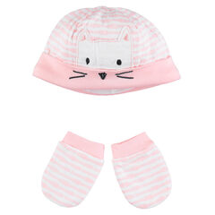 Cap and mitts with embroidered cat newborn ensemble