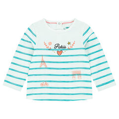 Long-sleeved striped tee-shirt with decorative print