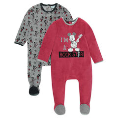 Set of 2 velvet footed sleepers with Disney Mickey Mouse motif