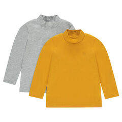 Set of 2 long-sleeved thin sweaters with high collar