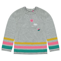 Long knit sweater with terry loop knit patches and stripes