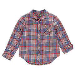 Long-sleeved checkered shirt with pocket