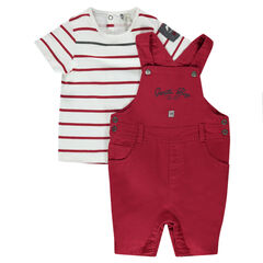 Ensemble with a short-sleeved striped tee-shirt and short jersey overalls